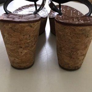 Tory Burch Shoes - Tory Burch Suzy Cork Patent Wedge Thong Sandal